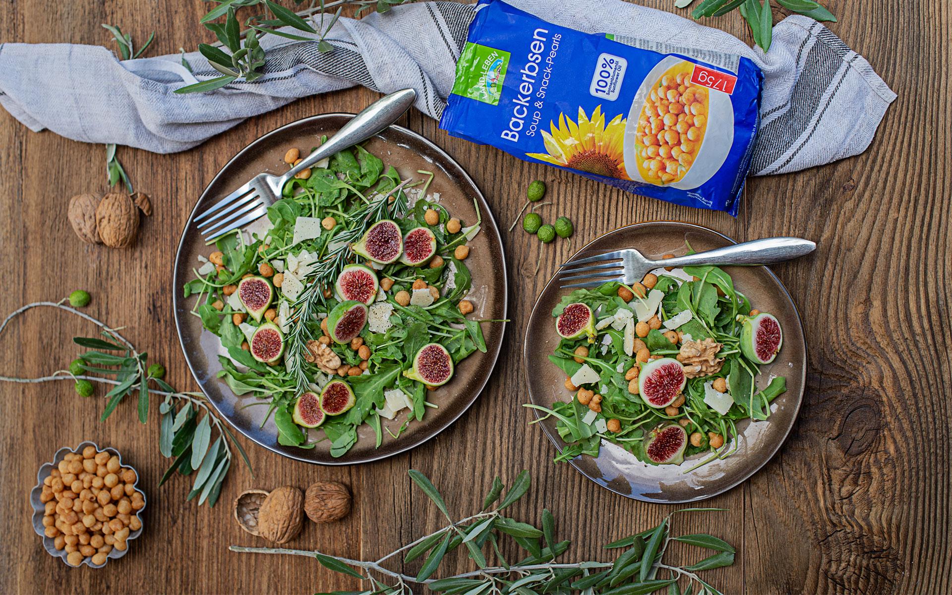 Rucola Parmesan Salat mit Backerbsen