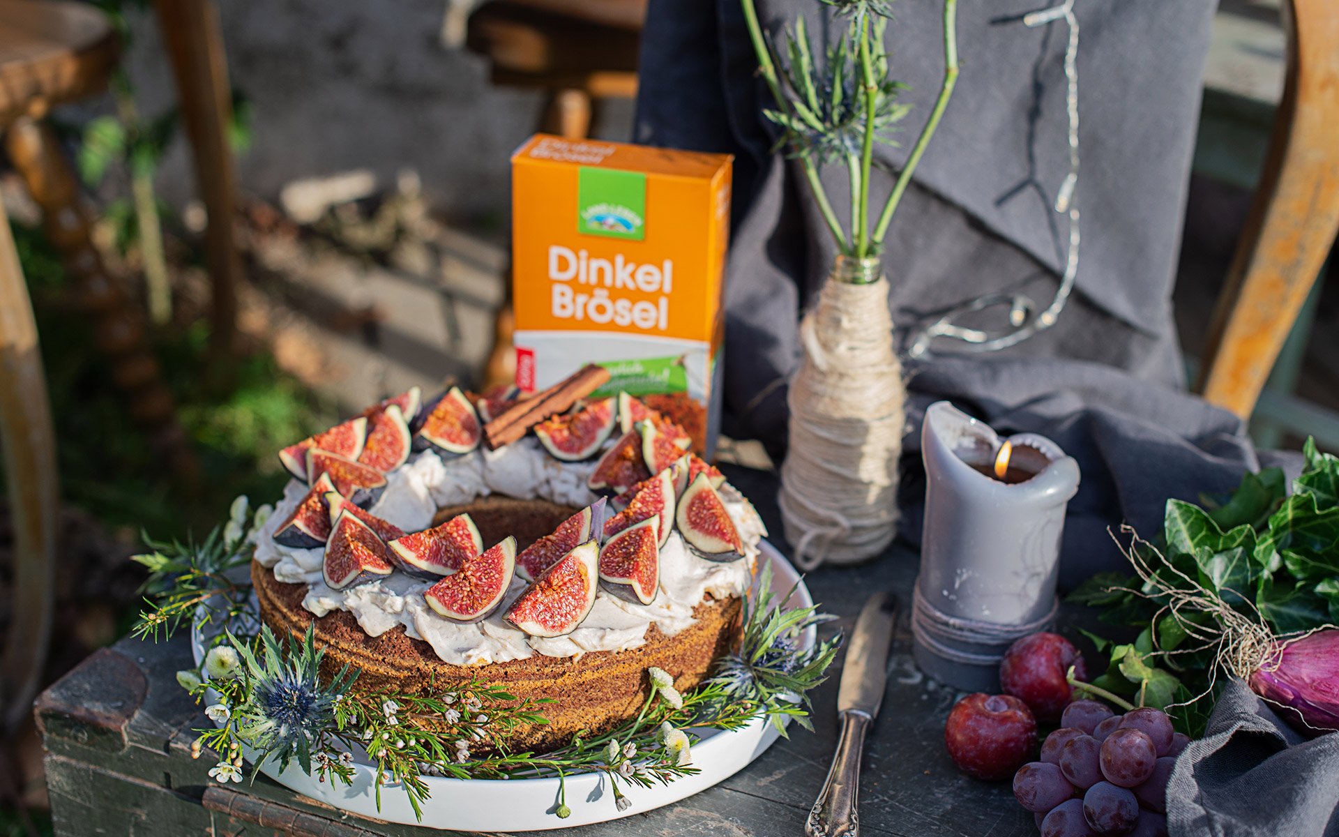 Schoko Feigen Kuchen mit Zimtcreme