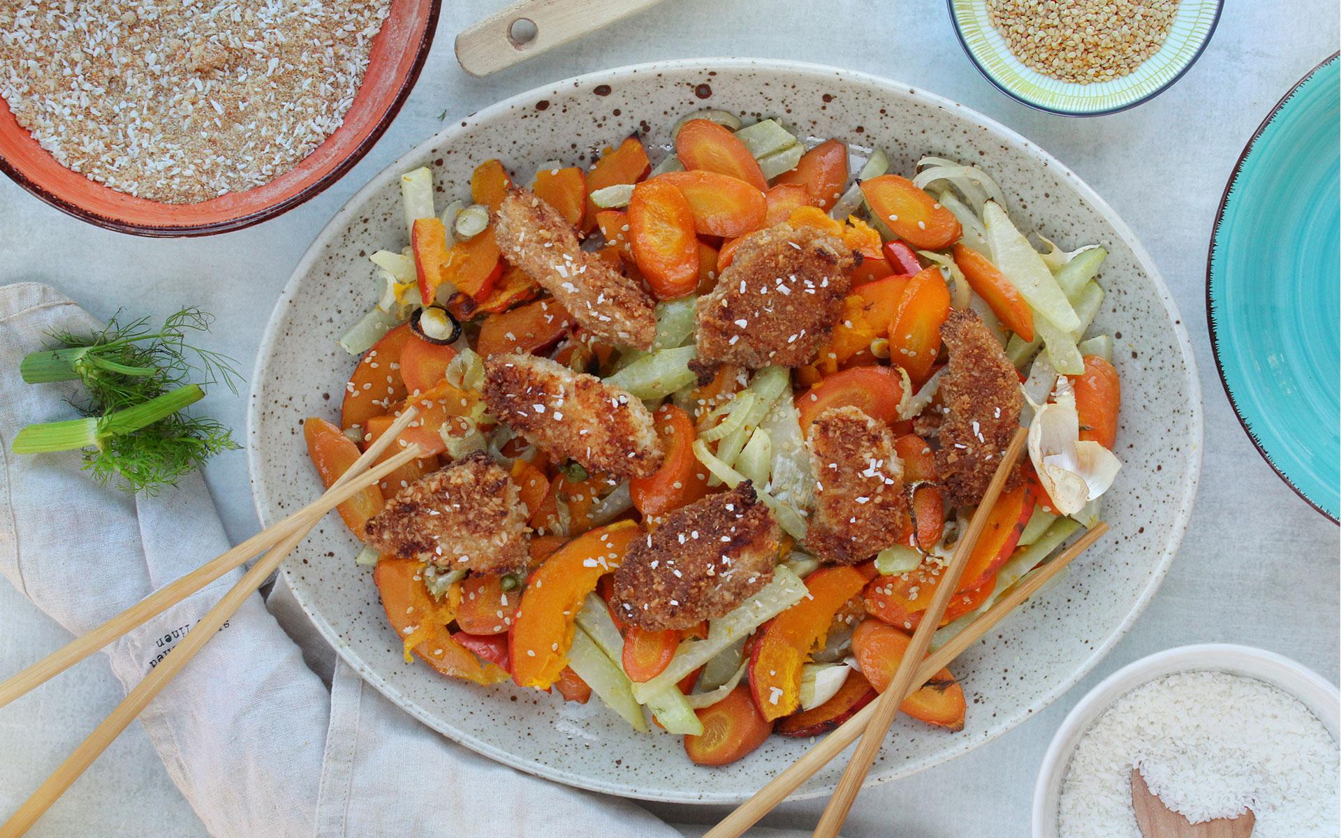 Kokos Hendl Schnitzel auf Asia-Ofengemüse